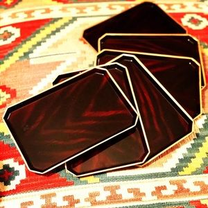 Beautiful Set of 6 Otagiri Lacquered Trays/Dishes